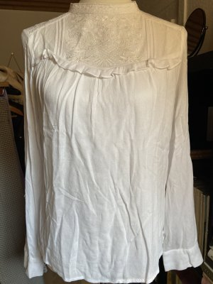 H&M Bluse weiß Gr. S 36 mit rüschen