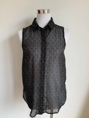 H&M Bluse XS 34 schwarz weiss ärmellos