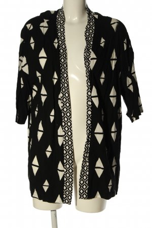 H&M Blouse Jacket black-cream abstract pattern casual look