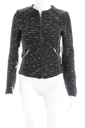 H&M Blusenjacke schwarz-hellgrau Webmuster Elegant