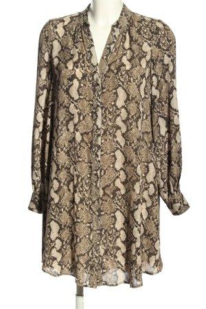 H&M Blusenkleid braun-wollweiß Allover-Druck Casual-Look