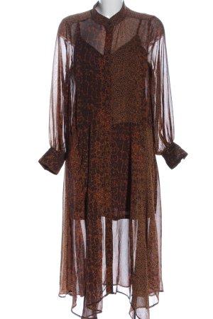 H&M Blusenkleid schwarz-braun Allover-Druck Casual-Look