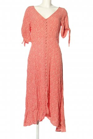 H&M Blusenkleid rot-wollweiß Blumenmuster Casual-Look