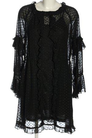 H&M Blusenkleid schwarz Punktemuster Elegant
