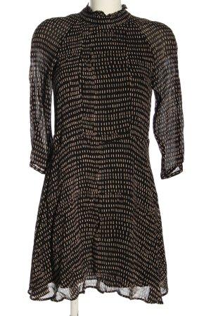 H&M Blusenkleid schwarz-creme Allover-Druck Elegant