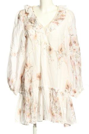 H&M Blusenkleid weiß-creme Blumenmuster Elegant