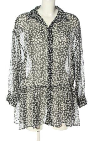 H&M Blusenkleid schwarz-wollweiß Allover-Druck Elegant