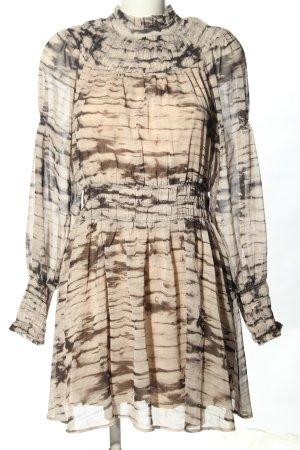 H&M Blusenkleid creme-braun abstraktes Muster Elegant