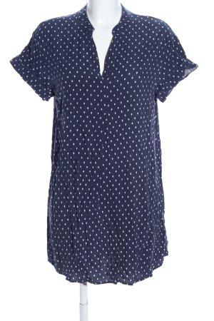 H&M Blusenkleid blau-weiß Allover-Druck Casual-Look