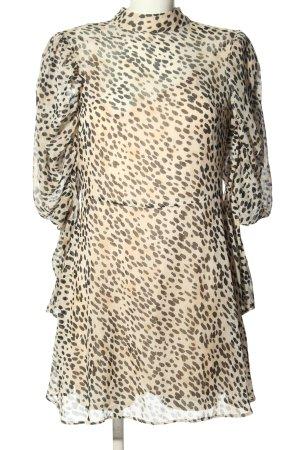 H&M Blusenkleid creme-schwarz Allover-Druck Casual-Look