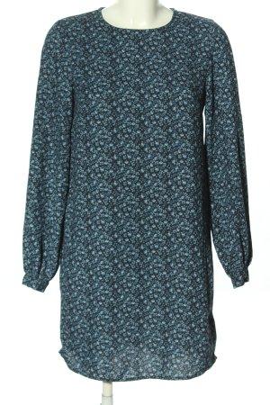 H&M Blusenkleid blau-schwarz Allover-Druck Casual-Look