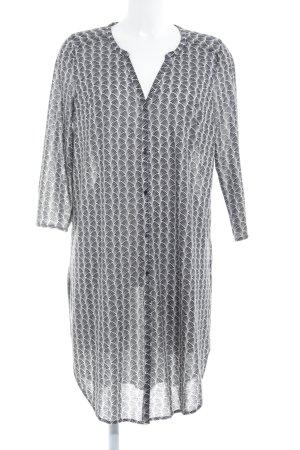 H&M Blusenkleid weiß-schwarz abstraktes Muster Casual-Look