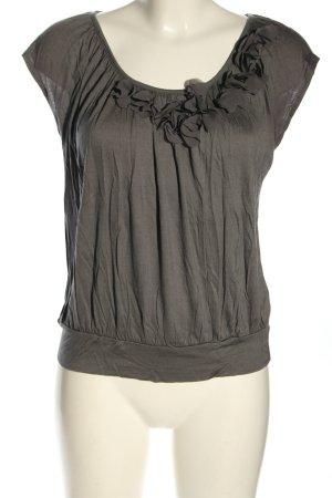 H&M Kurzarm-Bluse hellgrau Casual-Look