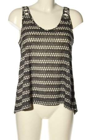 H&M Blusentop hellgrau-wollweiß grafisches Muster Casual-Look