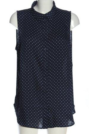 H&M Blusentop blau-weiß Punktemuster Casual-Look