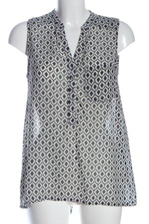 H&M Blusentop weiß-schwarz Allover-Druck Casual-Look