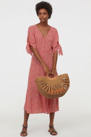 H&M BNWT Sommmerkleid Kleid Maxikleid Rot Weiß 34 XS Neu