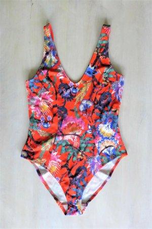 H&M Boho Badeanzug rot bunt Blume Muster Asia Gr. 38 S neu