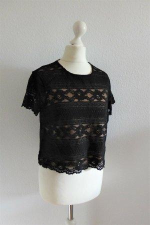 H&M Boho Crop Top Shirt Bluse schwarz nude Spitze Gr. S 36