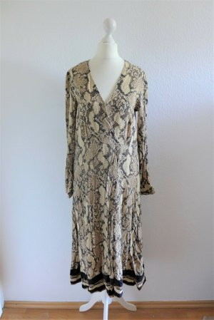 H&M Boho Midi Kleid Animal Snake Schlange Print beige schwarz Gr. 36 S