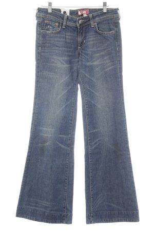 H&M Boot Cut Jeans dunkelblau Washed-Optik