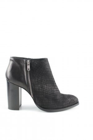 H&M Booties schwarz Animalmuster Business-Look