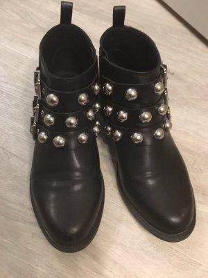 H&M Bottillons noir-argenté