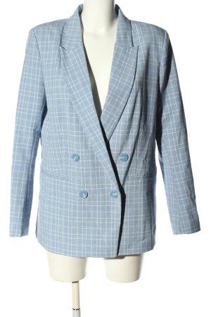 H&M Marynarka typu boyfriend niebieski-biały Wzór w kratkę W stylu casual