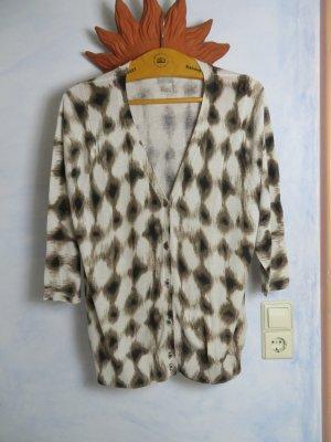 H&M braun gemusterte Strickjacke Batikmuser Größe L Baumwolle/Wolle Azteken Ikat Boho Look