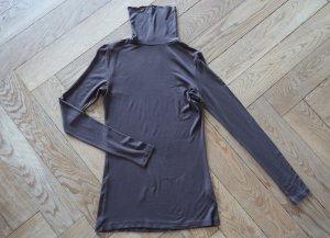 H&M Top con colletto arrotolato marrone scuro Viscosa