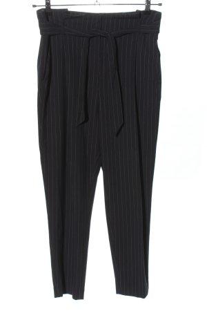H&M Bundfaltenhose schwarz-hellgrau Streifenmuster Casual-Look