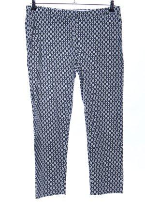 H&M Bundfaltenhose blau-weiß grafisches Muster Business-Look