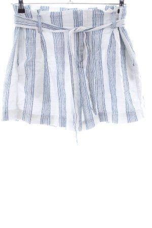 H&M Bundfaltenhose weiß-blau Streifenmuster Casual-Look