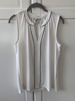 H&M Business Top elegant weiß schwarz ärmellos Oberteil S 36