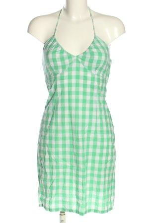 H&M Neckholderkleid grün-weiß Karomuster Casual-Look