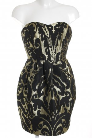 H&M Bustier Dress black-gold-colored mixture fibre