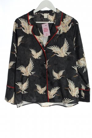 H&M Pea Jacket black-natural white allover print casual look