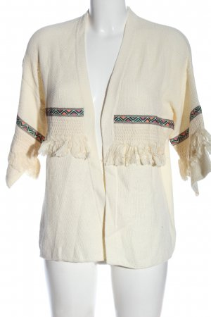 H&M Cardigan creme grafisches Muster Casual-Look