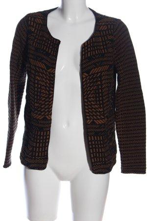 H&M Cardigan schwarz-braun Allover-Druck Business-Look