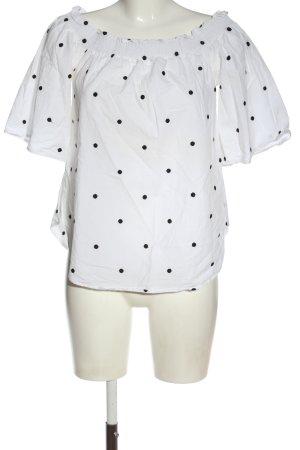 H&M Carmen-Bluse weiß-schwarz Allover-Druck Casual-Look