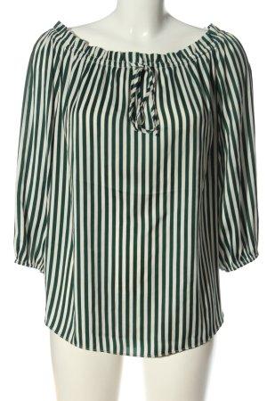 H&M Carmen-Bluse weiß-grün Allover-Druck Casual-Look