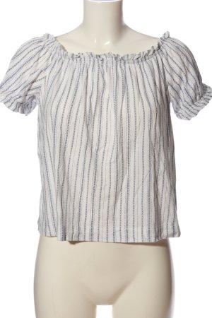 H&M Carmen-Bluse weiß-hellgrau Streifenmuster Casual-Look