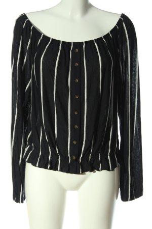 H&M Blusa tipo Carmen negro-blanco estampado a rayas look casual