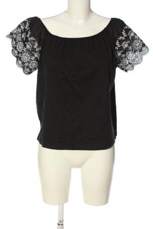 H&M Carmen-Bluse schwarz-weiß Blumenmuster Casual-Look