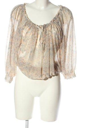 H&M Blusa alla Carmen crema-grigio chiaro stampa integrale stile casual