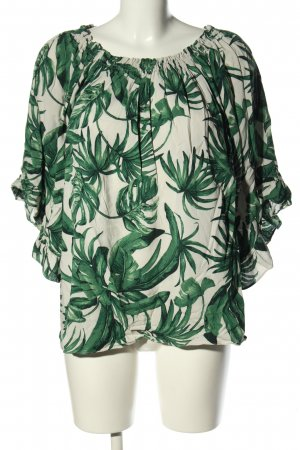 H&M Carmen-Bluse grün-weiß Allover-Druck Casual-Look