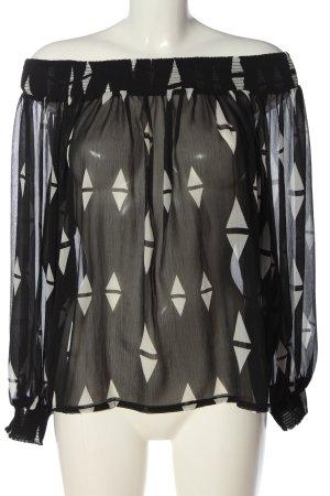 H&M Carmen-Bluse schwarz-weiß grafisches Muster Casual-Look