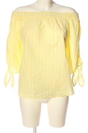 H&M Bluzka typu carmen bladożółty Wzór w paski W stylu casual