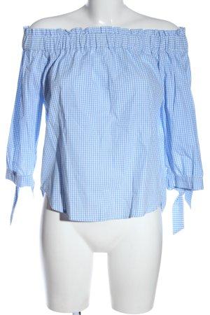 H&M Carmen-Bluse blau-weiß Karomuster Casual-Look