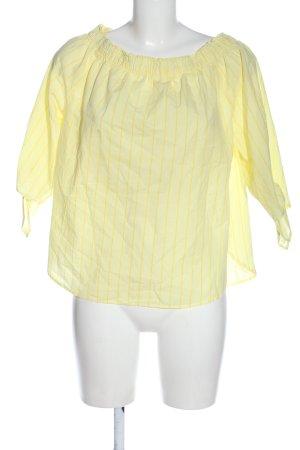 H&M Carmen-Bluse blassgelb Streifenmuster Casual-Look